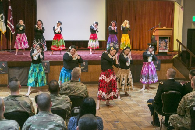 Hawaiian dance team entertains audience members at the Asian American Pacific Islander Heritage Month Observance May 18, 2017 at Camp Zama Community Club. (U.S. Army photo by Honey Nixon)