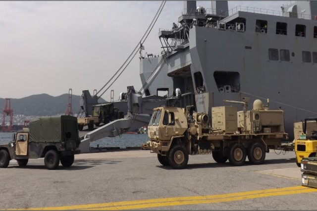 The 837th Transportation Battalion uploads the USNS Fisher at Pier 8 in Busan, Korea from April 16-20 in support of Pacific Pathways 17-1.