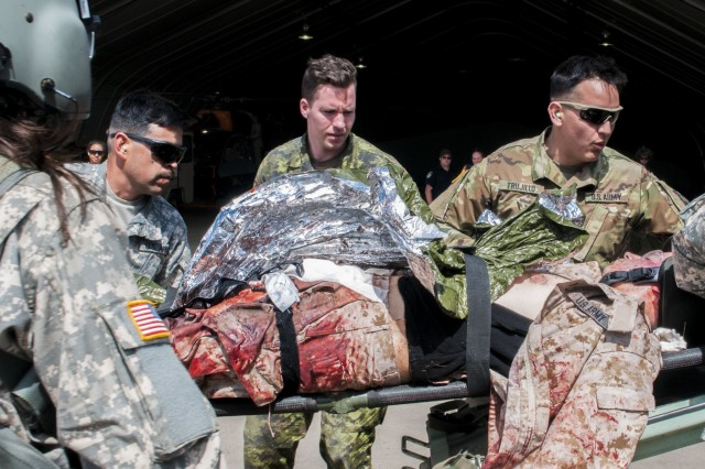 Cpl. Sean Gauthier, a medic for 5 Field Ambulance from Quebec, Canada gets a first glimpse of a simulated traumatic injury being carried by US medical personnel during exercise Maple Resolve.  The exercise is Canada's premiere brigade-level validation exercise used to sharpen the war-fighting skills and improve readiness for US and Canadian forces.