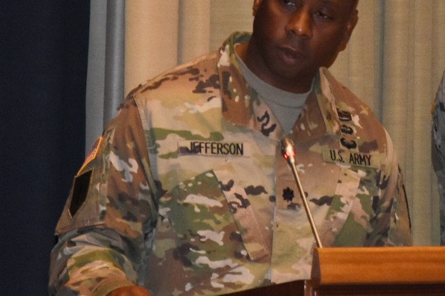 Mons, BELGIUM—Lt. Col. Frank Jefferson, commander of Allied Forces North Battalion, delivers remarks during a change of command ceremony at SHAPE May 19. Jefferson assumed command from Lt. Col. Michael Minaudo who commanded the battalion for two years during which NATO organizations took on a renewed focus on readiness.