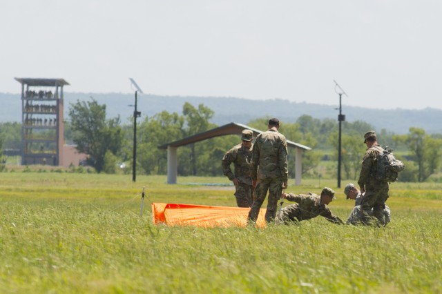 National Guardsmen from all over the nation conduct sling load operations as part of their requirement to complete Pathfinder school held at Oklahoma's premier training area, Camp Gruber Training Center, near Braggs, Oklahoma on May 17, 2017.