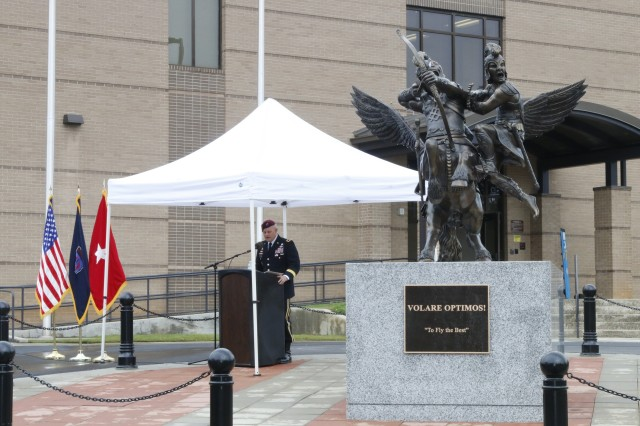 Brig. Gen. John R. Evans Jr., commanding general of U.S. Army Special Operations Aviation Command, gave a speech during a statue dedication ceremony held Tuesday, May 23, in front of the USASOAC headquarters building on Fort Bragg, North Carolina. The ceremony was held to pay tribute to the union between U.S. Army Special Operations ground forces and the aviation command. (U.S. Army photo by Sgt. Kyle Fisch/Released)