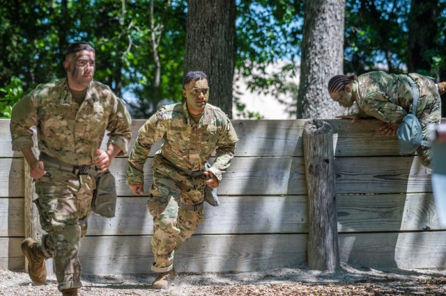 Soldiers competing to be named the Noncommissioned Officer of the Year run the Physical Endurance Course as part of the MSCoE Best Warrior Competition.