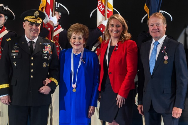 """Chief of Staff of the Army Gen. Mark A. Milley recognized Elizabeth Dole, the founder and chair of the board of the Elizabeth Dole Foundation; Meghan Ogilvie, CEO of Dog Tag Inc.; and John Chambers, the executive chairman of Cisco Systems, during a """"Salute from the Chief"""" ceremony at Joint Base Myer-Henderson Hall, Washington, D.C., May 23, 2017."""