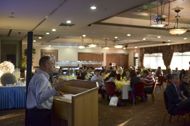 Col. Thomas Wheatley, Eighth U.S. Army Command Chaplain, speaks at the Area IV Chapel Volunteer Appreciation Dinner on May 10 , 2017.