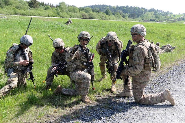Grafenwoehr, Germany (May 22, 2017) -- Soldiers from 2nd Battalion, 12th Infantry Regiment (2-12 IN) conducts a platoon-level Situational Training Exercise (STX) lane, here. Approximately 600 Soldiers from 2-12 IN, 2nd Infantry Brigade Comabat Team, 4th Infantry Division conducted platoon-level training at the Grafenwoehr Training Area in Bavaria, Germany, as part of an Emergency Deployment Readiness Exercise (EDRE). An EDRE is an opportunity to validate the unit's readiness to deploy world-wide on short notice, while testing the ability of U.S. Army Europe and subordinate units to receive, transport, feed, house and train units as they arrive in theater.