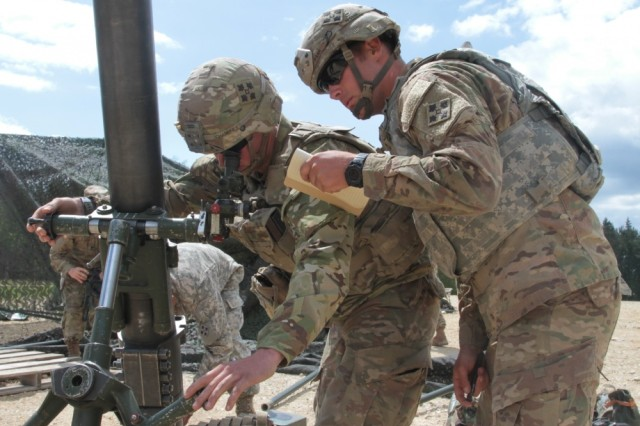 Spc. Aaron Champney (left), a gunner and Sgt. Reese Park, his squad leader, members of Headquarters and Headquarters Company, 2nd Battalion, 12th Infantry Regiment, 2nd Infantry Brigade Combat Team, 4th Infantry Division, check readouts before firing a round during a training exercise on May 25, 2017 at Grafenwoehr Training Area, Germany. The Soldiers must be precise in their distance estimation as they often send rounds beyond their line of sight with this high casualty producing weapon system. (Photo taken by Pvt. Nicholas Vidro, 7th Mobile Public Affairs Detachment.)