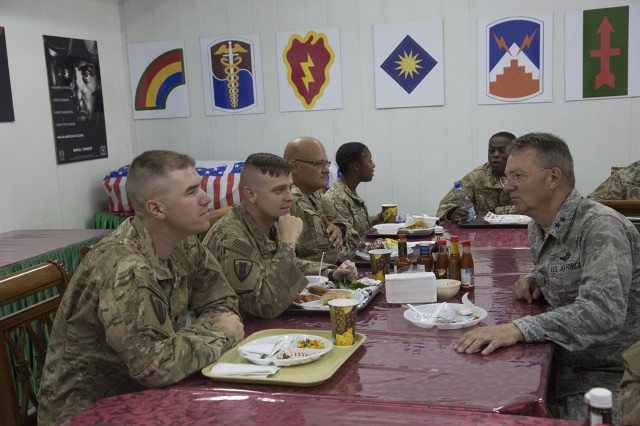Major General Anthony German, the Adjutant General of New York, meets with Soldiers of the 1156th Engineer Company during a visit to Camp Arifjan, Kuwait on May 17, 2017. Leaders of the New York National Guard visited New York Army National Guard Soldiers serving in Kuwait May 16-18, 2017.