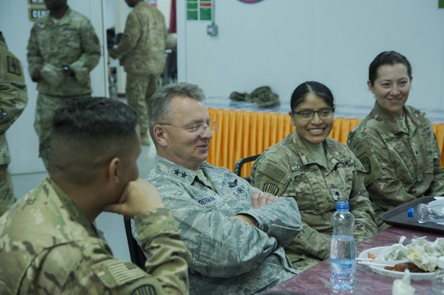 Major General Anthony German, the Adjutant General of New York, speaks with members of the 369th Sustainment Brigade during a visit to Camp Arifjan, Kuwait on May 17, 2017. Leaders of the New York National Guard visited New York Army National Guard Soldiers serving in Kuwait May 16-18, 2017.