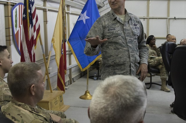Major General Anthony German, the Adjutant General of New York, speaks with leaders of the 369th Sustainment Brigade during a visit to Camp Arifjan, Kuwait on May 17, 2017. Leaders of the New York National Guard visited New York Army National Guard Soldiers serving in Kuwait May 16-18, 2017.