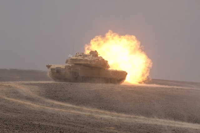 An M1A2 Abrams Main Battle Tank assigned to 3rd Battalion, 8th Cavalry Regiment, 3rd Armored Brigade Combat Team, 1st Cavalry Division engages targets at a company-level combined arms live-fire exercise, May 14, in Wadi Shadiya, Jordan as part of Exercise Eager Lion 2017. Eager Lion was a two-week-long multinational exercise with the Hashemite Kingdom of Jordan, in order to exchange military expertise and improve interoperability among partner nations.