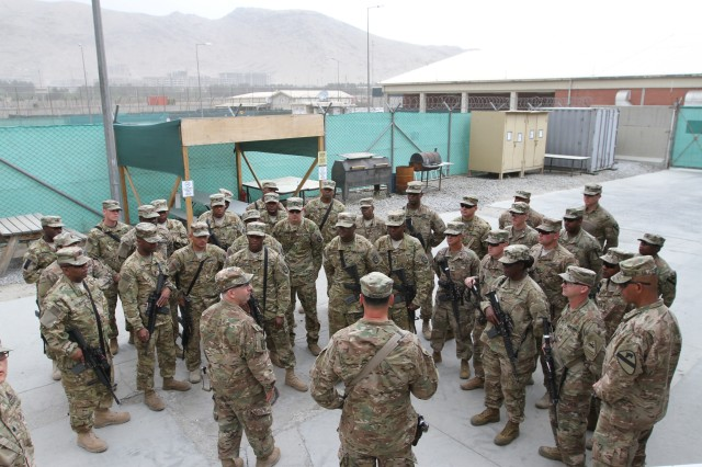 "Col. Michael Lalor and Command Sgt. Maj. Sean Howard, command team for the 1st Armored Division Resolute Support Sustainment Brigade, ""TF Muleskinners,"" conducted battlefield circulation in their brigades' area of operation May 23-24. The command team spoke with Soldiers in Jalalabad, Kabul, and Kandahar about their mission and support to the RSSB. Lalor and Howard also presented coins to Soldiers for their outstanding hard work and dedication to the RSSB's mission."