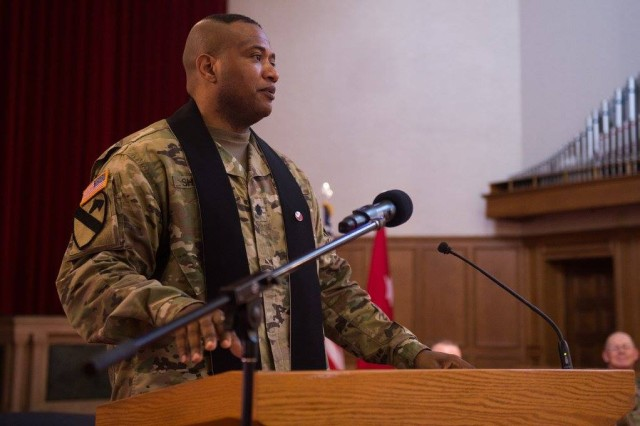 Lt. Col. Khallid Shabazz speaks during his Change of Stole ceremony inside the Lewis Main Chapel at Joint Base Lewis-McChord, Wash., May 23, 2017. Shabazz, the former I Corps deputy chaplain, became the chaplain for the 7th Infantry Division, making him the Army's first Islamic chaplain at the division level.