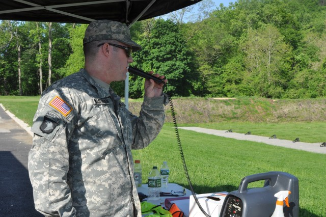 U.S. Army National Guard soldier, Sgt. 1st Class David Martinsen from Joint Force Headquarters-N.Y., gives orders to soldiers on the M4 range on Camp Smith, Cortlandt N.Y., May 19, 2017. Martinsen was the safety non-commissioned officer of the range, and gave commands to ensure all soldiers on the range were safely handling their weapons.