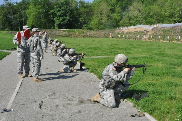 U.S. Army National Guard soldiers from various units fire M4 rifles on Camp Smith, Cortlandt N.Y., May 19, 2017. Soldiers were testing their ability to accurately shoot an M4 rifle from three different stances for a total of at least 23 hits out of 40 available rounds.