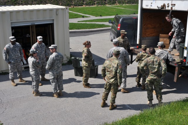 U.S. Army National Guard soldiers from Joint Force Headquarters-N.Y., unload a box-truck at the M4 range on Camp Smith, Cortlandt N.Y., May 18, 2017. The supply unit had to arrive at Camp Smith one day prior to soldiers from other units in order to prepare the range for them to conduct monthly training.