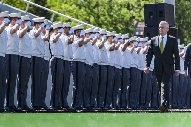 Secretary of Defense Jim Mattis enters Michie Stadium before the 2017 graduation ceremony at West Point. Nine hundred and thirty-six cadets from the Class of 2017 received their diplomas May 27. The class included 151 women, 72 African-Americans, 60 Asian/Pacific Islanders, 102 Hispanics and six Native Americans.  There were 133 members of the class who attended the U.S. Military Academy Preparatory School (114 men and 19 women).  This class also included 21 combat veterans (20 men and one woman). (U.S. Army photo by Michelle Eberhart)