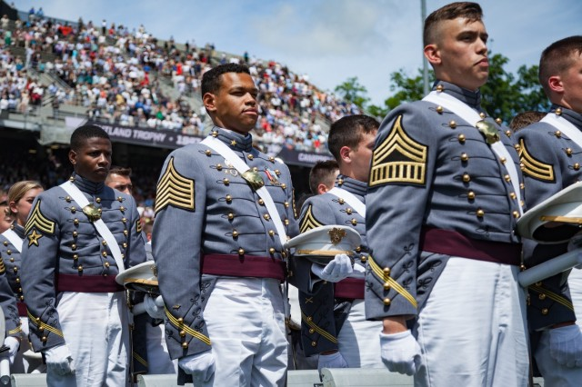U.S. Military Academy cadets celebrate the completion their graduation ceremony at West Point. Nine hundred and thirty-six cadets from the Class of 2017 received their diplomas May 27. The class included 151 women, 72 African-Americans, 60 Asian/Pacific Islanders, 102 Hispanics and six Native Americans.  There were 133 members of the class who attended the U.S. Military Academy Preparatory School (114 men and 19 women).  This class also included 21 combat veterans (20 men and one woman). (U.S. Army photo by Michelle Eberhart)