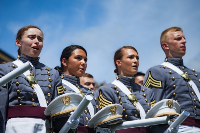 U.S. Military Academy cadets sing the West Point alma mater during their graduation ceremony at Michie Stadium. Nine hundred and thirty-six cadets from the Class of 2017 received their diplomas May 27. The class included 151 women, 72 African-Americans, 60 Asian/Pacific Islanders, 102 Hispanics and six Native Americans.  There were 133 members of the class who attended the U.S. Military Academy Preparatory School (114 men and 19 women).  This class also included 21 combat veterans (20 men and one woman). (U.S. Army photo by Michelle Eberhart)