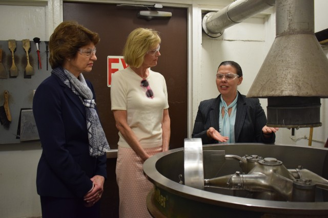 Lt. Gov. Suzanne Crouch toured CAAA's pyrotechnic facility and future Flexible Manufacturing Complex May 18. During her time at the pyrotechnic facility, Crouch, and president of Indiana Economic Development Corporation, Elaine Bedel, was briefed by CAAA's deputy to the commander, Norman Thomas, and CAAA commodity manager, Lara Zilafro, about Crane Army's overall mission of supporting the Warfighter by ensuring the efficient and effective production of munitions for the Joint Force.