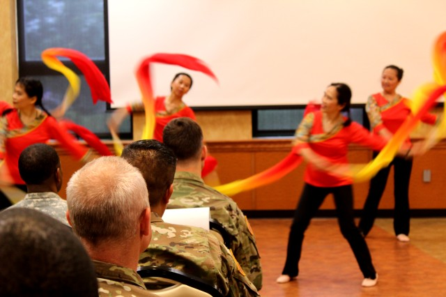 Dancers from the Chinese Culture and Community Service Center performed at the Asian American and Pacific Islander Heritage Month celebration on Fort Detrick, Maryland May 25. This year's event was sponsored by the U.S. Army Medical Materiel Agency.