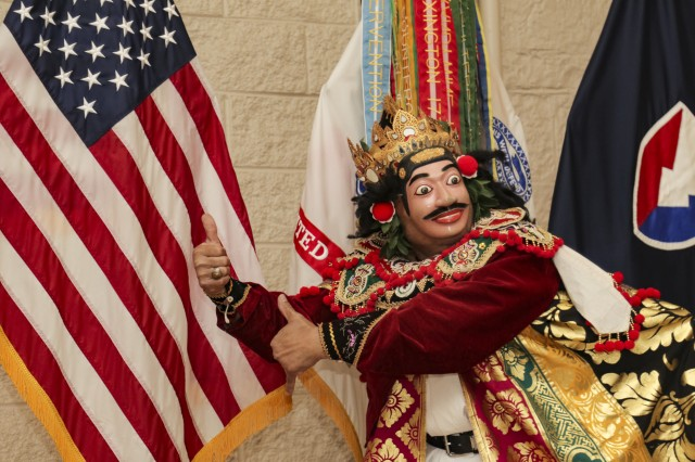 Igusti Kertayuda, a member of Indonesian Dance of Illinois, performs at First Army's Asian American Pacific Islander Heritage Observance at Rock Island Arsenal, Ill., May 25.