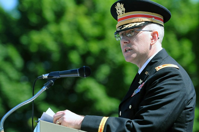 Lt. Col. Brad Cook, command inspector general, ASC, gives his remarks at a 10 a.m. ceremony May 29 at Port Byron, Illinois.