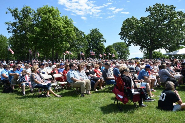 Approximately 300 people attend the Rock Island Arsenal Memorial Day Ceremony at 10:45 a.m. Monday at the Rock Island National Cemetery, Illinois.