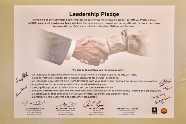The U.S. Army Installation Management Command Leadership Pledge signed May 31, 2017 by the IMCOM command team and headquarters staff directors.