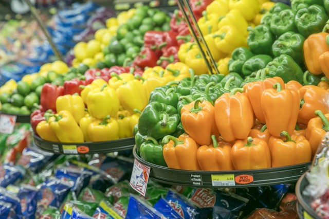 Fresh vegetables sit on the shelves of the commissary during the Healthy Lifestyles event held May 26, 2017 at Sagamihara Family Housing Area Commissary.  (U.S. Army photo by Honey Nixon)