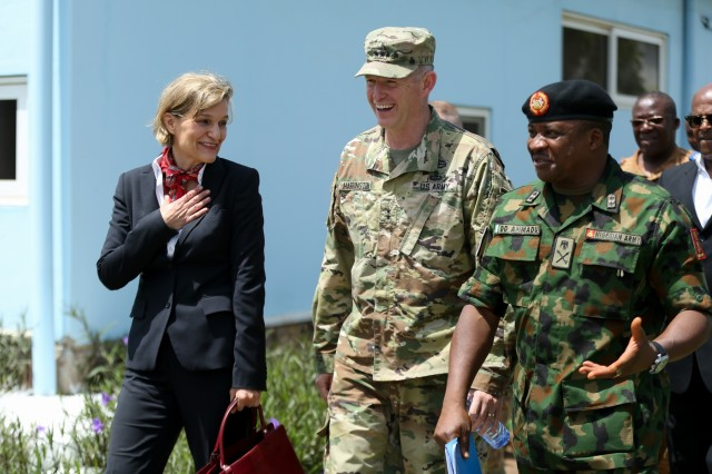 Maj. Gen. Joseph P. Harrington, commanding general of U.S. Army Africa, speaks with distinguished guests while on a tour of the Kofi Annan International Peacekeeping Training Centre on distinguished visitor's day during United Accord 2017 in Accra, Ghana, May 29, 2017. United Accord (formerly Western Accord) 2017 is an annual, combined, joint military exercise that promotes regional relationships, increases capacity, trains U.S. and Western African forces, and encourages cross training and interoperability. (U.S. Army photo by Pfc. Joseph Friend)
