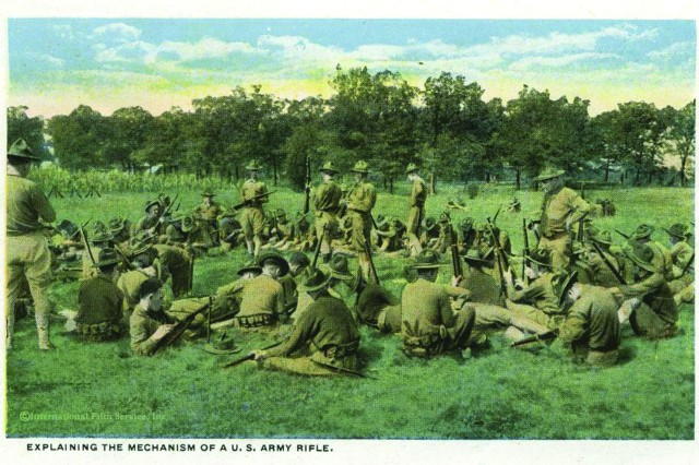 This vintage postcard illustrates training during Fort Jackson's earliest days, when it was a training center for Soldiers during World War I.