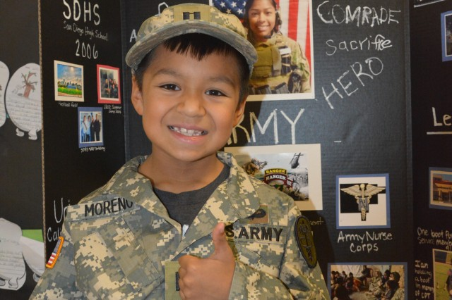 C.C. Pinckney Elementary School students were encouraged to dress as memorable characters from history as part of the 'Living History Museum' event that took place May 24-25. Ian Nunez, 8, dressed as Capt. Jennifer M. Moreno, an Army nurse -- and friend of his mother's -- killed in 2013 during her first deployment in Afghanistan.