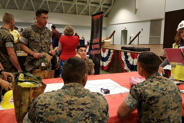 "LoraLee Neubeck, Family and Morale, Welfare and Recreation special events coordinator, plays a game of ""safety trivia"" with a group of Marines May 25 at Nutter Field House."