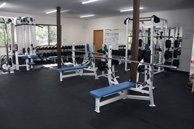 The Soldiers of 14th Missile Defense Battery at the Kyogamisaki Communication Site at Kotango-Shi, Japan, now enjoy access to a weight room since moving into their new apartment building in April.
