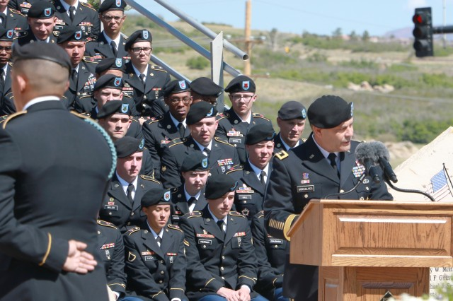 FORT CARSON, Colorado -- Maj. Gen. Ryan F. Gonsalves, commanding general, 4th Infantry Division and Fort Carson, delivers his remarks to the Families, friends and Fort Carson Soldiers during the Mountain Post Warrior Memorial Ceremony at Kit Carson Park May 25, 2017.