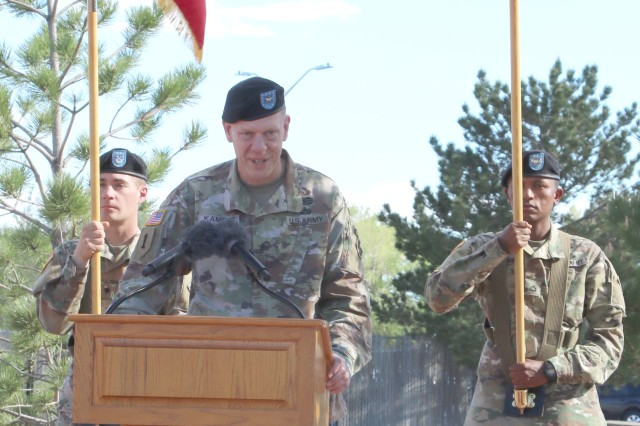FORT CARSON, Colo. -- Brig. Gen. Kenneth L. Kamper, outgoing deputy commanding general, 4th Infantry Division and Fort Carson, reflects on his time at the Mountain Post during a May 24, 2017, retreat ceremony at Founders Field at Fort Carson, Colo.