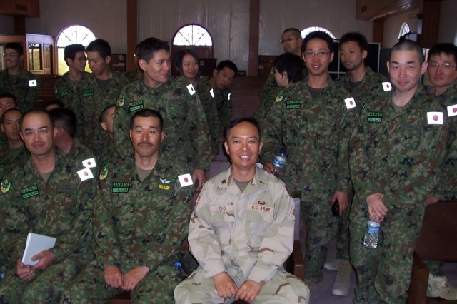 Chaplain Majo. Cho in chapel with Japan ground self defense force, Iraqi Freedom, 2006