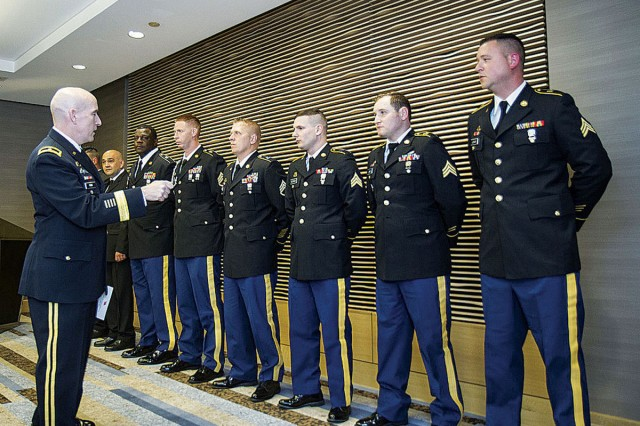 Brig. Gen. Rodney Fogg, Quartermaster General, speaks to the winners of the 2017 Philip A. Connelly Awards during a ceremonial dinner in Chicago May 19.  The annual Department of the Army Connelly competition uses military experts and civilian evaluators from the National Restaurant Association to recognize military units for excellence in Army food service.