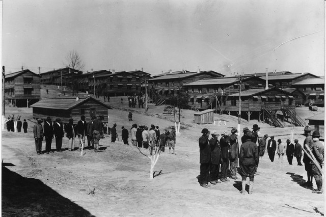 Soldiers train at newly constructed Camp Gordon, Georgia during World War I.
