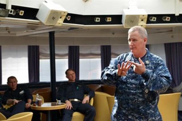 Navy Fleet Master Chief Crispian D. Addington, the U.S. European Command senior enlisted advisor, meets with senior leaders aboard USS Mount Whitney during a ship visit at Viktor Lenac Shipyard in Rijeka, Croatia, April 6, 2017.