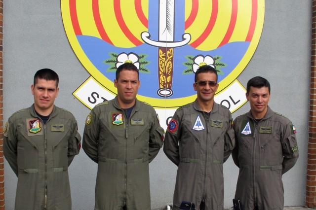 Four Colombian air force officers attend a State Partnership Program Subject Matter Expert Exchange on Ground Control Intercept with the Georgia Air National Guard's 117th Air Control Squadron at Hunter Army Airfield in Savannah, Ga. May 30-June 2, 2017. During the week-long engagement the Colombians worked with Air Controllers from 117th shaping Colombian air force's training plans by pairing experts together to exchange ideas. The Georgia Air National Guard supported the South Carolina National Guard's State Partnership Program during the engagement.