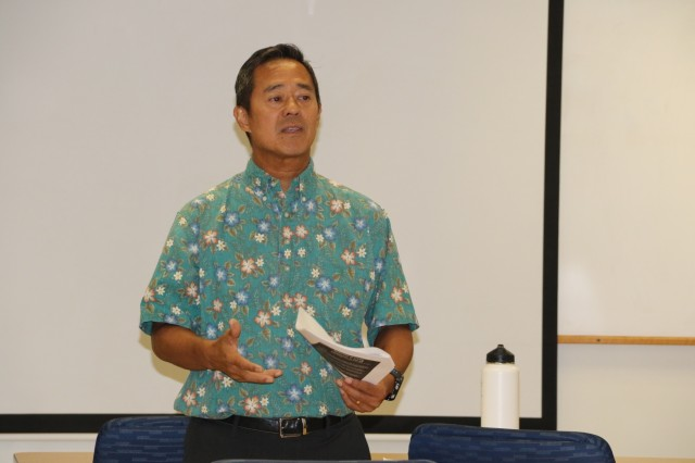 Regional Health Command-Pacific Social Work Consultant Lead, Warren Aoki, leads an RHC-P sponsored training event in Honolulu, Hawaii, March 31, 2017, with support from the Military Family Advocacy Coordinating Council, to improve Period of PURPLE crying training and roll-out efforts among social work professionals from the military and civilian community.  The half-day session was designed to identify gaps in program deliveries and to come up with ways to streamline efforts. With the training underway, Aoki says the next step will be determining the number of shaken baby syndrome incidents in order to track the impact of the Period of PURPLE crying educational program within RHC-P. Aoki says RHC-P is also continuing active involvement in child abuse prevention in the state of Hawaii. On behalf of RHC-P, Aoki participates in the Keiki Injury Prevention Coalition, which coordinates child abuse prevention efforts in Hawaii as part of its mission.