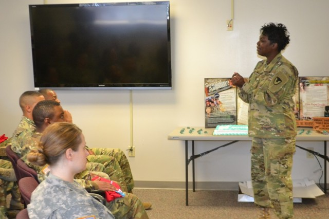 Colonel Wendy L. Rivers, Commander, U.S. Army Information Systems Engineering Command (USISEC), Fort Huachuca, Arizona, takes a SHARP awareness message to Fort Bliss soldiers. The USISEC Commander was recently invited to speak at a Sexual Assault and Awareness Prevention (SAAPM) community event at the Raymond W. Bliss Army Health Center (RWBAHC), Fort Huachuca, Arizona.