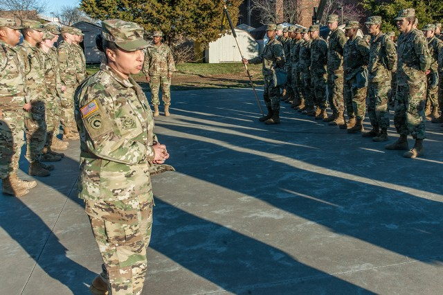 Command Sgt. Maj. Rebecca Franco, 84th Chemical Battalion command sergeant major, addresses a company of Soldiers following a phasing ceremony during Advanced Individual Training.