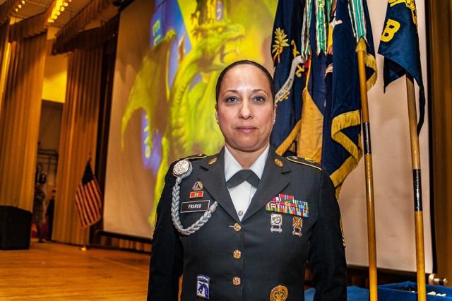 Command Sgt. Maj. Rebecca Franco following an 84th Chemical Battalion graduation.