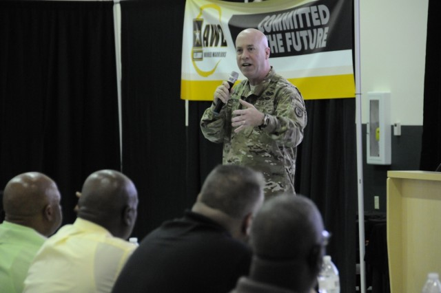 Col. David Oeschger, Director of the U.S. Army Wounded Warrior Program (AW2), speaks to a room full of AW2 Advocates during the 2017 Annual Advocate Training in Tampa, Florida, June 05, 2017.
