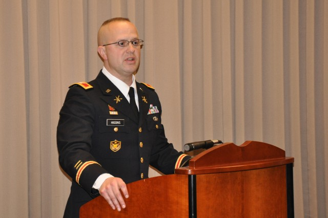 Col. Tristan S. Higgins addresses guests during his promotion ceremony at the U.S. Army Space and Missile Defense Command/Army Forces Strategic Command headquarters in Colorado Springs, Colo., earlier this year.