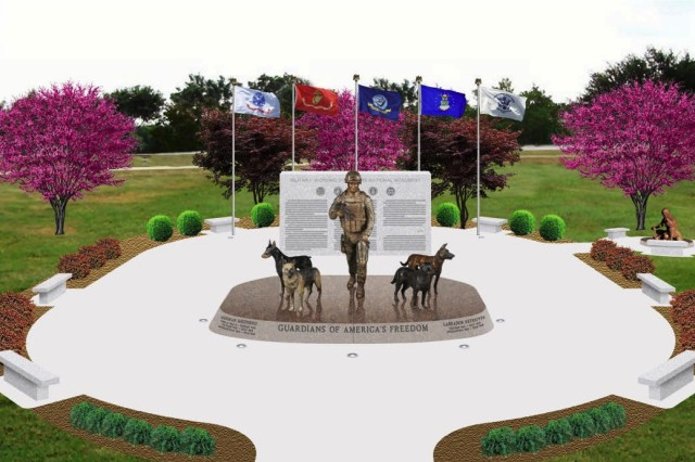 The first national monument  for U.S. Military Working Dog teams was dedicated in 2013 at Joint Base San Antonio-Lackland, Texas. Military Working Dogs are bred and trained by the base's 341st Training Squadron to detect arms, ammunition, and explosives -- both of the conventional and home-made varieties. Combat Tracker Dog Teams are also trained for the Marine Corps to recognize and follow enemy insurgents, IED makers, and snipers.