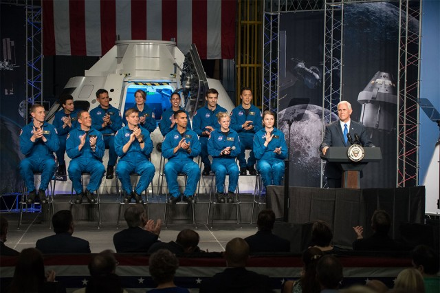 Vice President Mike Pence delivers remarks during an event where NASA introduced 12 new astronaut candidates at NASA's Johnson Space Center in Houston, Texas. Seven candidates are service members: Army Maj. Frank Rubio, a battalion surgeon for 3rd Battalion, 10th Special Forces Group, Navy Lt. Cmdr. Matthew Dominick, Former Navy SEAL Jonny Kim, Air Force Lt. Col. Raja Chari, Marine Corps Maj. Jasmin Moghbeli, Air Force Reserve Lt. Col. Bob Hines and Navy Lt. Kayla Barron. After completing two years of training, the new astronaut candidates could be assigned to missions performing research on the International Space Station, launching from American soil on spacecraft built by commercial companies, and launching on deep space missions on NASA's new Orion spacecraft and Space Launch System rocket.